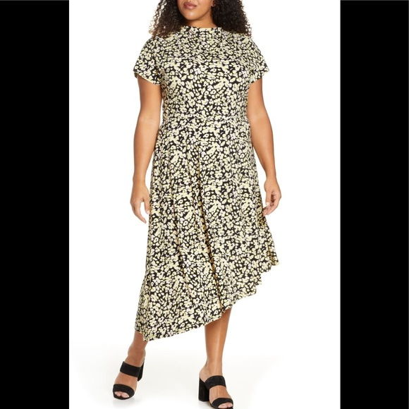 Eloquii Floral Asymmetrical Stretch Midi Dress